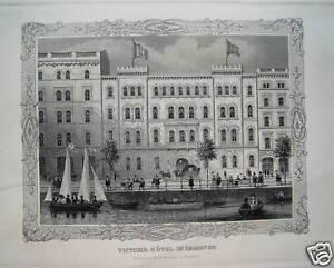 Hamburg Victoria Hotel Real Old Steel Engraving 1845
