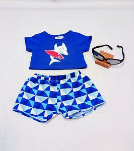 Build a Bear Shark Board Shorts & Shirt Blue White Swim Suit & Sunglasses Outfit