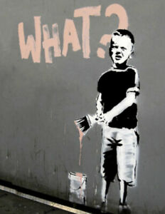 BANKSY ART BOY WITH PAINT BRUSH - 3D BRANDALISED PICTURE PRINT 300mm x 400mm