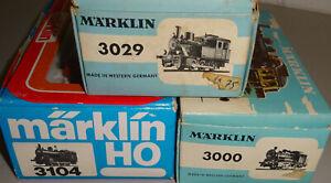 3 Märklin Tenderlokomotiven in OVP, 3000, 3029, 3104