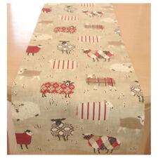 """SMALL 3ft Table Runner 90cm Sheep Cream Red Black Beige Tartan Plaid 36"""" Farm"""