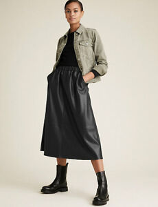 MARKS AND SPENCER FAUX LEATHER MIDI SKIRT BLACK COLOUR SIZE 16