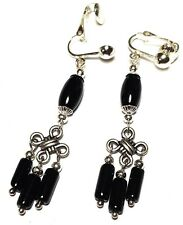 a Pair of Long Black Earrings Chandelier Silver Clip-on Glass Bead Drop Dangle
