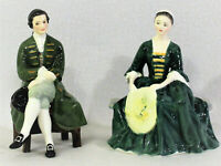 2 Royal Doulton England Bone China Figurine Lady & Gentleman from Williamsburg