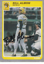 BILL ALMON PIRATES SIGNED 1985 FLEER #U-2 Autograph