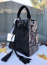 SARA BURGLAR Ariel Drawstrings Bucket Bag Black Snake Skin Leather Made In Italy