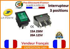 1 interrupteur avec voyant à bascule 15A 250V - 20A 125V 3 positions 6 pins vert