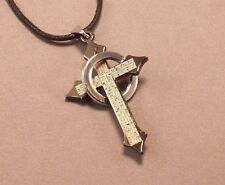 Christian Necklace LASER Etched Cross LORD's PRAYER Stainless Steel Ring GIFT!