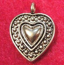 20Pcs. Tibetan Silver Heart In Heart Charms Pendants Earring Drops H101