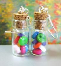 CLEARANCE SALE! BOTTLE OF BUTTONS EARRINGS! GLASS VIAL QUILTER SEWER KAWAII GIFT