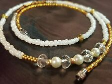 white waistbeads Gold and