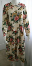 ADRIENNE VITTADINI Sz S Sport Drop Waist Midi Dress Ivory & Multicolor Flowers