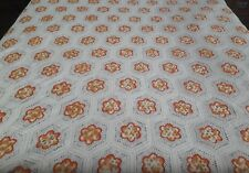 "Vintage Cream Orange Floral Crochet King Queen Coverlet Bedspread 91"" x 90"""