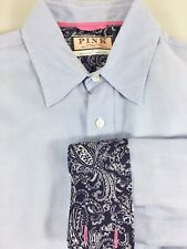 Thomas Pink Mens L Blue Long-Sleeve Cotton Shirt Navy Blue Paisley Contrast Cuff
