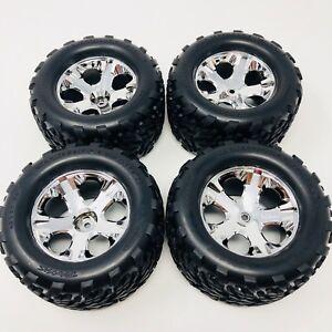 Traxxas Front & Rear Chrome 2.8 Wheels 5576 & Talon Tyres 3671 x4 Stampede New
