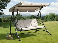 More details for florian 3 seat swing hammock heavy duty garden bench patio charcoal & light grey