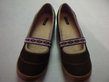 LANDS' END Terrain Lodge brown w/lavender accent MaryJanes flats SZ 10B NEW