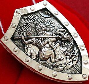 PROTECTIVE WARRIOR SHIELD.ORTHODOX PENDANT - SAINT GEORGE GREATMARTYR.SILVER 925