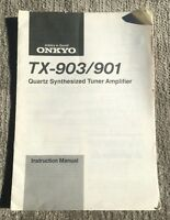 Instruction Manual for Onkyo TX-903 TX-901 Quartz Synthesized Tuner Amplifier