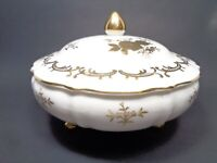 VINTAGE 1949 LEFTON PORCELAIN WHITE COVERED DISH HAND PAINTED 22K GOLD ROSES