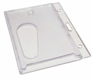 ID Card Holder Strong Enclosed Rigid Plastic with Thumb Hole FREE  P&P