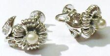 boucles d'oreilles vis bijou vintage signé LISNER perle nacré coul.argent * 3919