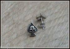 Paire de Boucles d'oreille As de pique / Skull ( biker punk ) REF 066