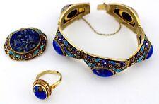 Finname lapis lazuli Set bracelet bague broche emaux argent plaqué or 1960er
