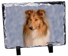 Rough Collie 'Love You Dad' Photo Slate Christmas Gift Ornament, DAD-90SL