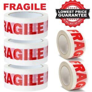 FRAGILE TAPE PRINTED ROLLS STRONG PARCEL PACKING MULTILISTING 12 6 24 36 48mm 66