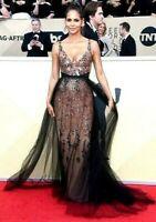 $7,690 Pamella Roland Confetti Sequin Tulle Long Dress Evening Gown IT 40 / US 4
