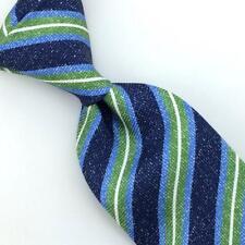 Kiton Napoli Tie Stripes Blue Green Seven 7 Fold Necktie Luxury Silk Ties L5 NWT