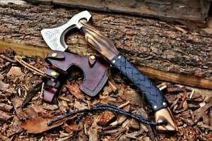 Custom  Forged Carbon Steel Viking Axe, With Ash Wood Shaft, Viking Bearded.