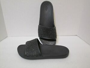 Crocs Womens Sloane Embellished Slide Shoes, Black/Black, US 9 NWOB/NWOT