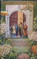 People Going to Church~Antique Embossed~Thanksgiving Postcard-Unused-s801