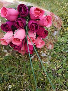 Bouquet de Roses Fleurs Bois Artificielles Anniversaire Mauve