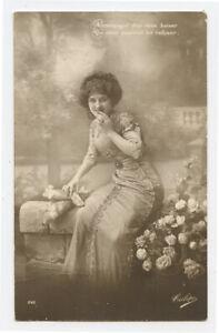 1910s Glamour FRENCH BEAUTY Fashion vintage photo postcard