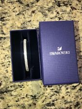 Signed Swarovski Swan silver hinged Bangle Bracelet Clear Rhinestone Crystals