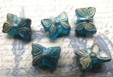 Butterfly beads green pressed glass gold wash 15mm