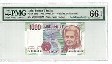 ITALY Low Serial # 000008 1000 Lire 1990 Pick# 114c PMG-66 EPQ GEM UNC. (#1114)