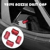 Red 4Pcs Car Tyre Rim Valve Wheel Stem Air Port Dust Caps Cover Auto Accessories
