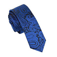 DQT Woven Floral Paisley Royal Blue Formal Wedding Mens Skinny Tie