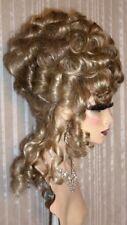 Drag Queen Wig Up Do  Ash Blonde Hi Lights French Twist Curls Tendrils