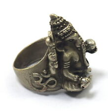 Old Silver-Plated Ganesha God Ring Good luck rings symbol Collectible G18-76 US