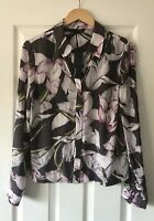 MARKS AND SPENCER M&S PURPLE MIX LILY PRINT BLOUSE TOP UK 10 NEW