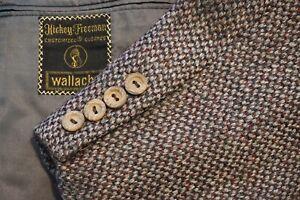 Hickey Freeman Gray Red Woven Tweed 100% Wool Sport Coat Jacket Sz 38S