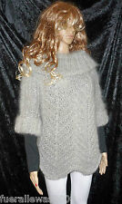 Mano a maglia Pullover Lungo capelli mohair Grigio Argento Exclusiv hand Knitted Sweater