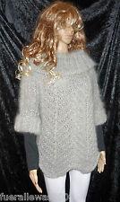 handgestrickt Pullover Langhaar Mohair silbergrau exclusiv hand knitted sweater