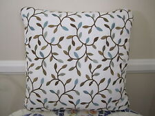 Gorgeous PIllow Cover Swavelle Odienne Mineral Aqua Blue Brown Embroidered Leaf