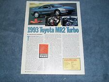 1993 Toyota MR2 Turbo Road Test Info Article